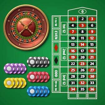 Online-casino-roulette und spieltisch mit chip-vektorsatz.