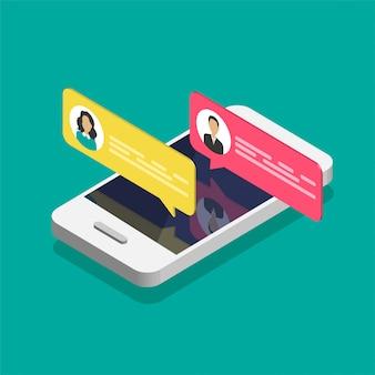 Online-chat-konzept. isometrisches smartphone mit dialogfeldern.