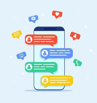 Online-chat-nachrichten textbenachrichtigung auf dem handy. Premium Vektoren