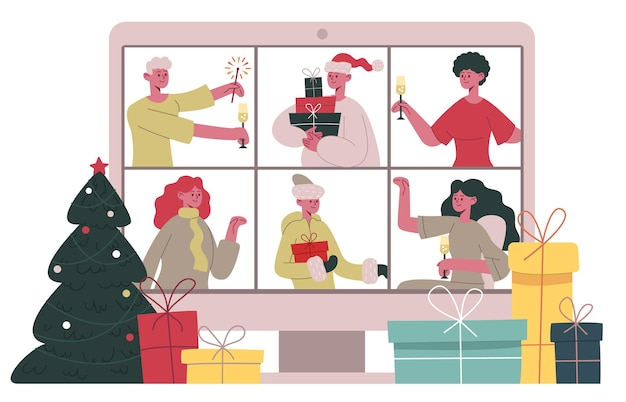 Online-chat zu weihnachten. frohe weihnachten-freunde oder familien-videoanruf, weihnachtsfeier-videokonferenz-cartoon-vektor-illustration. online-weihnachtsfeier. kommunikationsurlaub, digitaler chat online