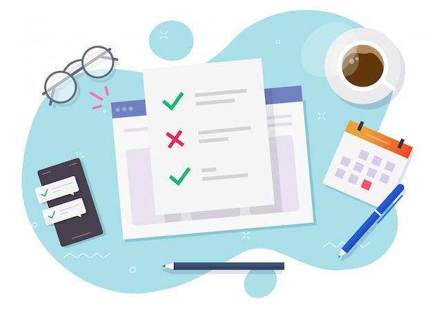 Online-checklistendokument des umfrageformulars zum studienarbeitsplatz