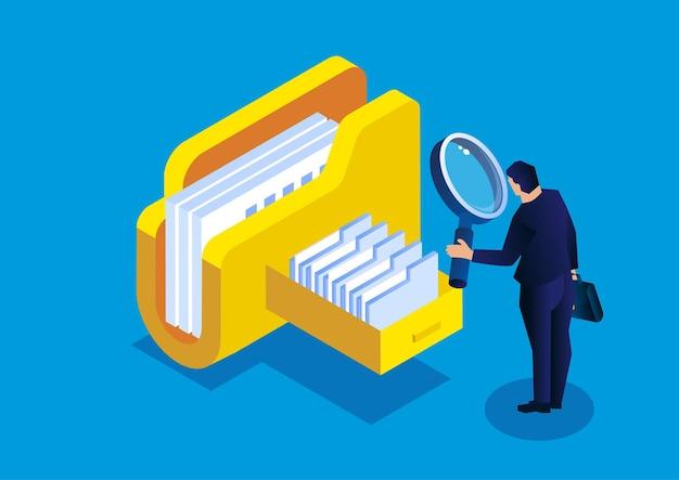 Online-cloud-dateiabfrage und -management isometrischer geschäftsmann, der eine lupe hält
