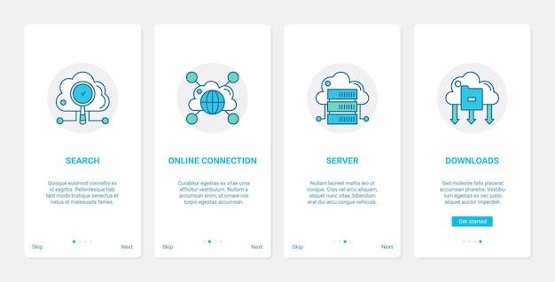 Online-cloud-verbindung globale technologie ux, ui onboarding mobile app seite bildschirmsatz