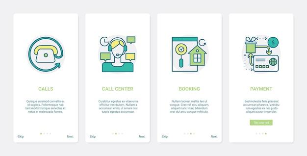 Online-commerce-callcenter-kundendienst ux ui onboarding mobile app seite bildschirm eingestellt