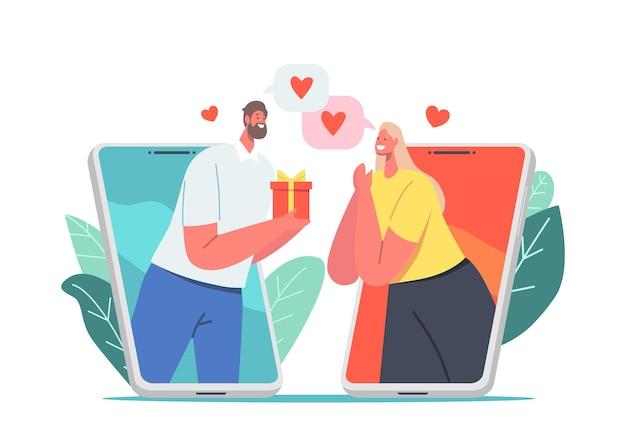 Online-date, modernes romantisches beziehungskonzept. männlicher charakter, der frau über smartphone-bildschirm-dating im internet, paar-match-mobilanwendung präsentiert. cartoon-menschen-vektor-illustration