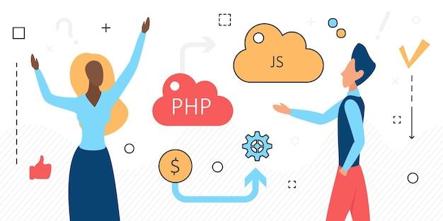 Online-daten-cloud-speicher-leute und computersprache-symbole isoliert