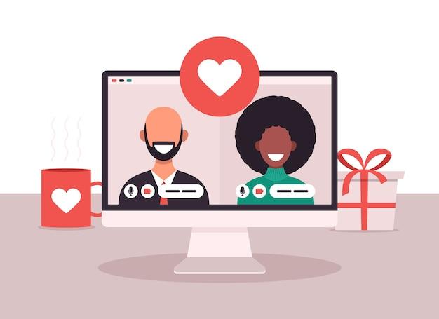Online-dating-app-konzept mit mann und frau