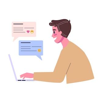 Online-dating-app-konzept. virtuelle beziehung und liebe. kommunikation zwischen menschen über das netzwerk. perfekte übereinstimmung. illustration