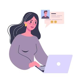 Online-dating-app-konzept. virtuelle beziehung und liebe. kommunikation zwischen menschen über das netzwerk. perfektes match und hochzeit. illustration