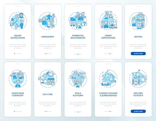Online-dating-betrug onboarding mobile app seite bildschirm mit konzepten