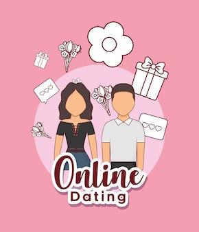 Online-dating-design mit avatar-paar und verwandten icons