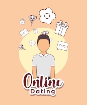 Online-dating-design mit avatarmann und verwandten icons
