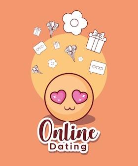 Online-dating-design mit emoji und verwandten symbolen