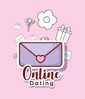 Online-dating-design mit umschlag und verwandten symbolen