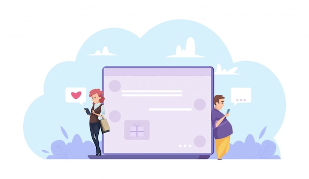 Online-dating-konzept. mann und frau unterhalten sich online. zeichentrickfigur menschen, laptop, chat