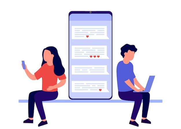 Online-dating liebespaar kommunizieren distanz paarbeziehung im internet-nachrichten-chat