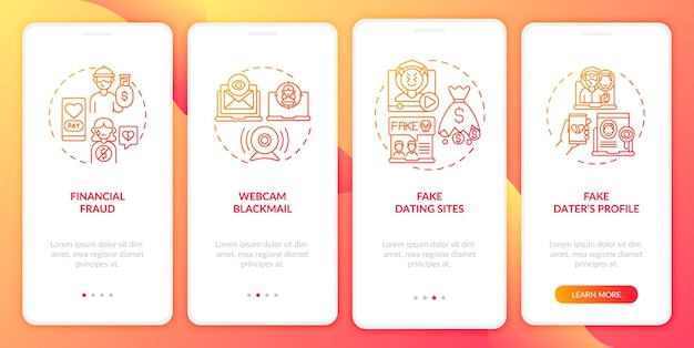 Online-dating-risiken website onboarding mobile app seite bildschirm