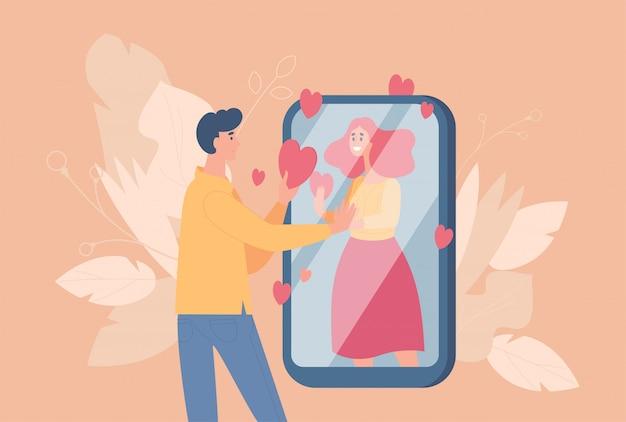 Online-dating und fernbeziehung cartoon illustration. paar in der liebe reden werfen soziales netzwerk.