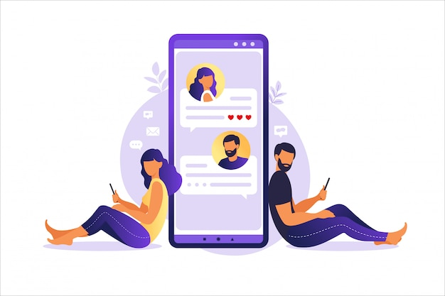 Online-dating und soziale netzwerke, konzept für virtuelle beziehungen. männliche und weibliche chats im internet. dating app und virtuelle beziehung. illustration