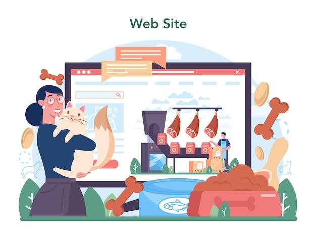 Online-dienst der futtermittelindustrie oder plattformnahrung für heim- und heimtiere