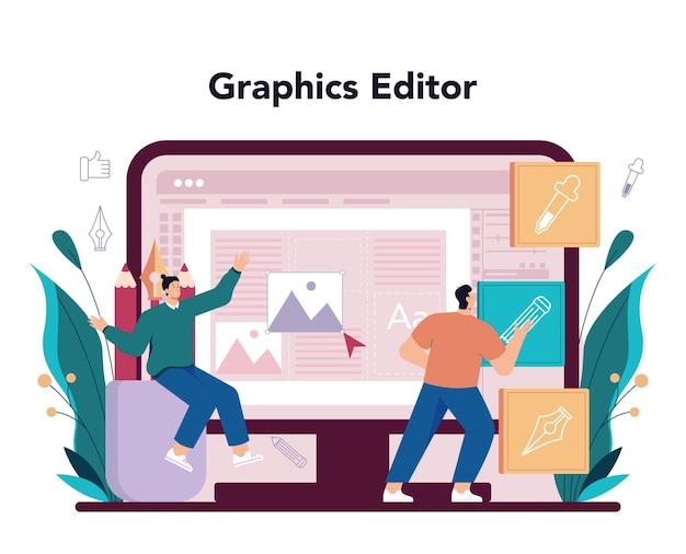 Online-dienst für werbedesigner oder plattformkünstler, der eine anzeige erstellt