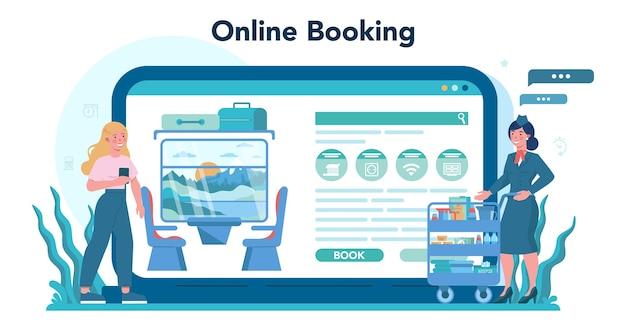Online-dienst oder bahnsteig des eisenbahnschaffners