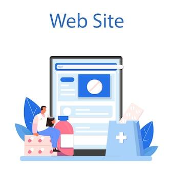 Online-dienst oder plattform für apotheken. apotheker, der medikamente zur behandlung von krankheiten herstellt und verkauft. gesundheitsversorgung und medizinische behandlung. webseite. flache vektorillustration