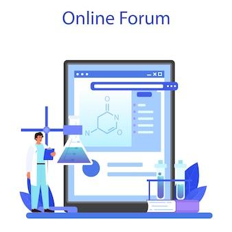 Online-dienst oder plattform für apotheker. wissenschaftler, der ein experiment im labor durchführt. wissenschaftliche ausrüstung, chemische forschung. online forum. flache vektorillustration