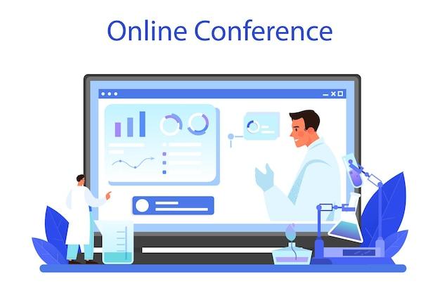 Online-dienst oder plattform für apotheker. wissenschaftler, der ein experiment im labor durchführt. wissenschaftliche ausrüstung, chemische forschung. online-konferenz. flache vektorillustration