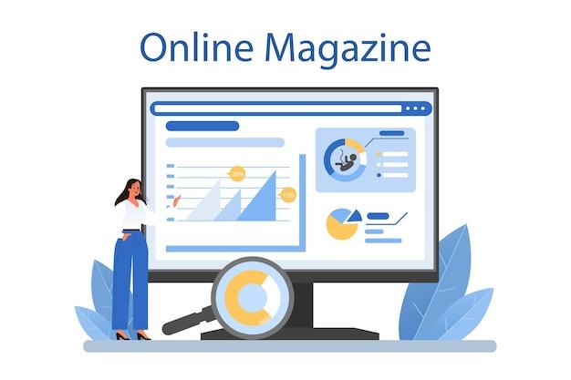 Online-dienst oder plattform für demografen. wissenschaftler, die das bevölkerungswachstum untersuchen, analysieren demografische statistiken. online-magazin. flache vektorillustration