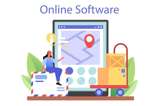 Online-dienst oder plattform für den postbotenberuf. mitarbeiter der post, die den postdienst anbieten, briefe und pakete annehmen. online-software. flache vektorillustration