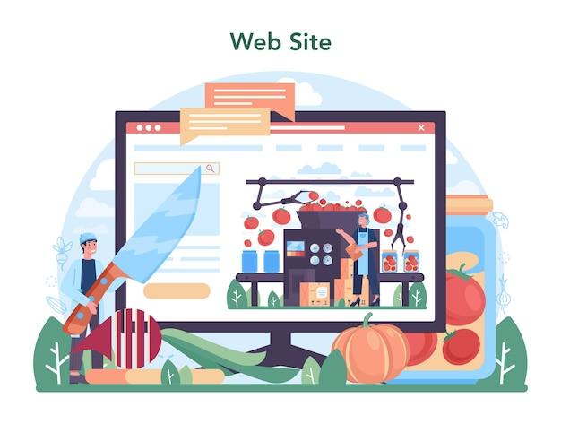 Online-dienst oder plattform für die gemüseanbauindustrie. dorflebensmittel