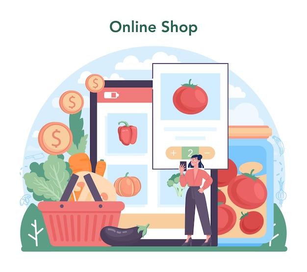 Online-dienst oder plattform für die gemüseanbauindustrie. dorflebensmittelanbau, verarbeitung und konservierung. online shop. flache vektorillustration