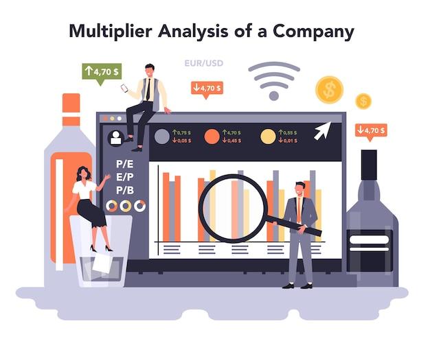Online-dienst oder plattform für die getränkeproduktionsindustrie. alkoholische und akoholfreie getränke. multiplikatoranalyse eines unternehmens. vektor-illustration