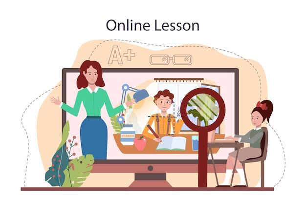 Online-dienst oder -plattform für die klasse für einen gesunden lebensstil. idee der lebenssicherheit und gesundheitserziehung. ernährung, sport und erste hilfe. online-lektion. flache vektorillustration