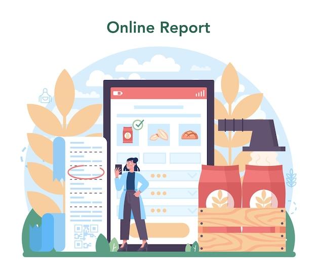 Online-dienst oder plattform für die mehlschmelzindustrie. moderne getreideernteverarbeitung. getreide mahlen und sieben. online-bericht. flache vektorillustration