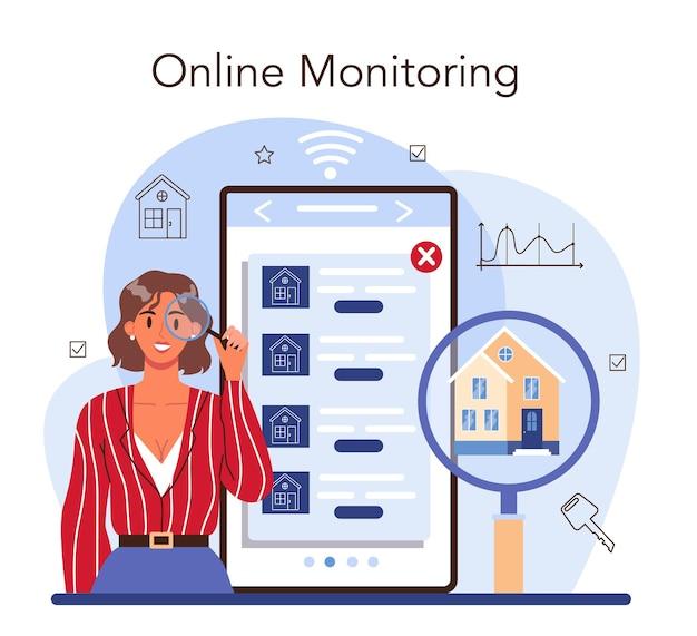 Online-dienst oder plattform für immobilienagenturen. kauf- und verkaufsgeschäft für immobilien. maklerservice. online-überwachung. flache vektorillustration