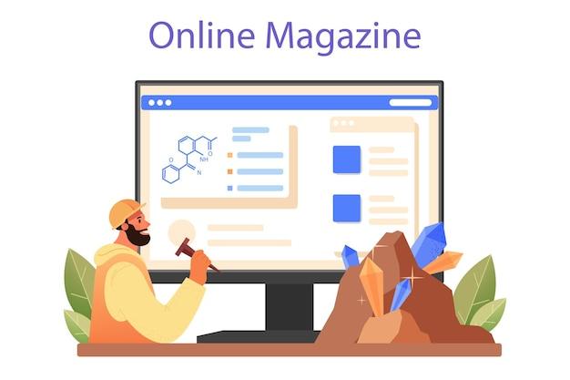 Online-dienst oder plattform für mineralogen. professioneller wissenschaftler, der stein und mineral studiert. gewinnung von steinen. online-magazin. flache vektorillustration