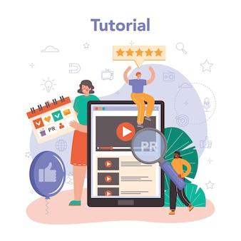 Online-dienst oder plattform für pr-manager. spezialist für den aufbau und die entwicklung von kundenbeziehungen. online-tutorial. flache vektorillustration
