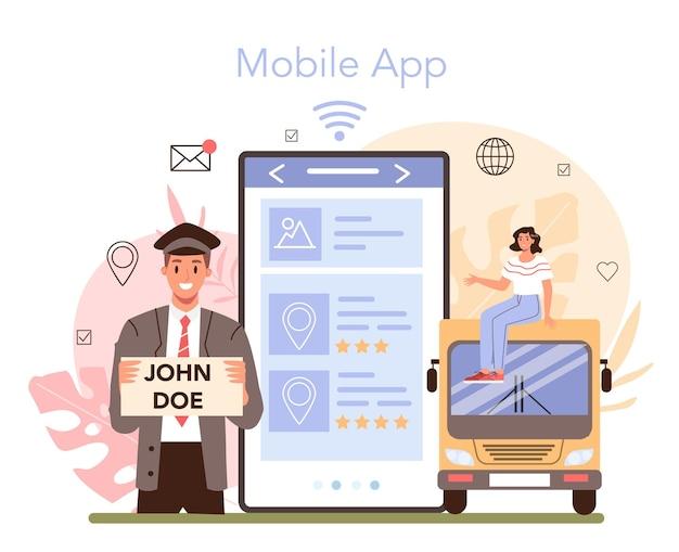 Online-dienst oder plattform für reisebürodienstleistungen. transfer, touristentransport vom flughafen zum hotel. internationale verhandlungen. app. flache vektorillustration