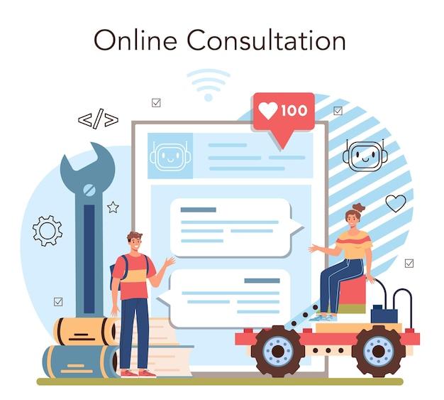 Online-dienst oder plattform für robotikschulkurse. robotertechnik