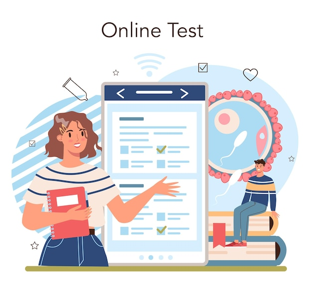 Online-dienst oder plattform für sexualaufklärung. lektion über sexuelle gesundheit für junge leute. verhütungs- und fortpflanzungssystem. online-test. isolierte vektorillustration