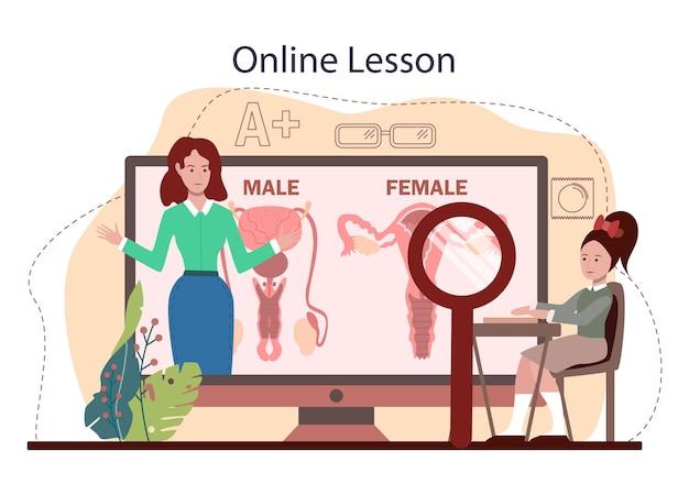 Online-dienst oder plattform für sexualaufklärung. lektion über sexuelle gesundheit für schüler. verhütung, weibliches und männliches fortpflanzungssystem. online-lektion. flache vektorillustration