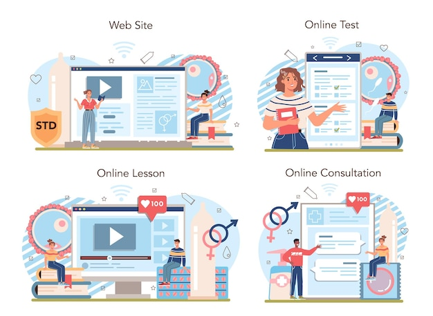 Online-dienst oder plattform für sexualaufklärung stellen lektionen zur sexuellen gesundheit ein