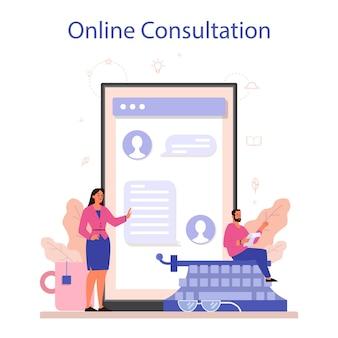 Online-dienst oder plattform für texter