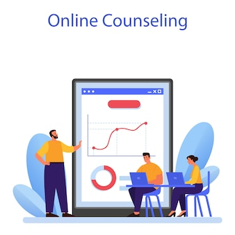 Online-dienst oder plattform für unternehmensbeziehungen. unternehmensethik. entwicklung der unternehmensorganisation und compliance. online-beratung. flache vektorillustration
