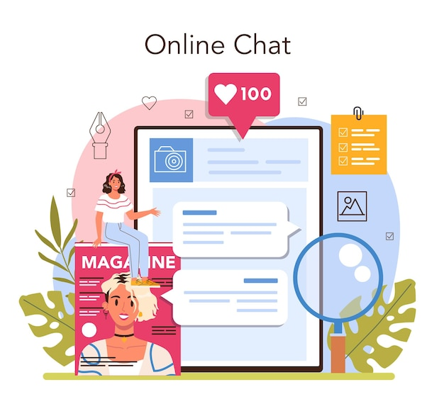 Online-dienst oder plattform für zeitschriftenredakteure. inhaltsauswahl, veröffentlichung und promotion. journalist und designer, der an einem magazin arbeitet. online chat. flache vektorillustration