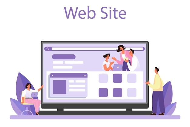 Online-dienst oder plattform zur personalberatung. personalmanager, der mitarbeiter mit arbeitsanweisungen versorgt. personalschulung. webseite. flache vektorillustration