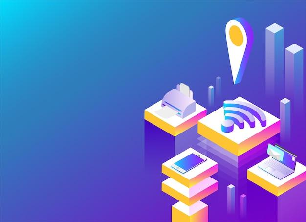 Online-dienst und mobile apps abstrakte isometrische darstellung auf blauem hintergrund