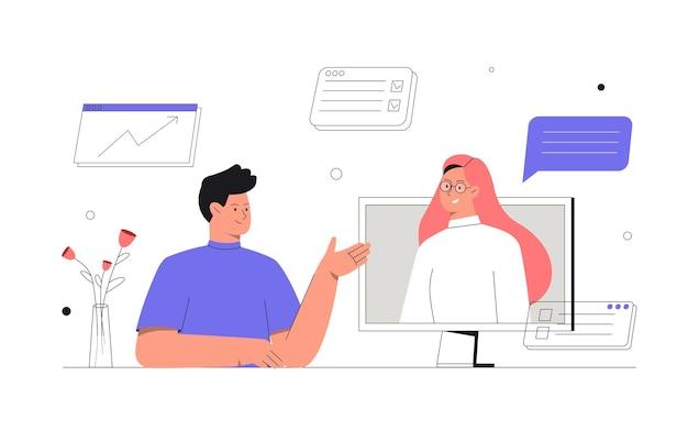 Online-diskussion und videokonferenz